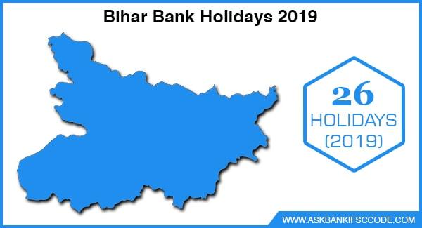 Bihar Bank Holidays 2019