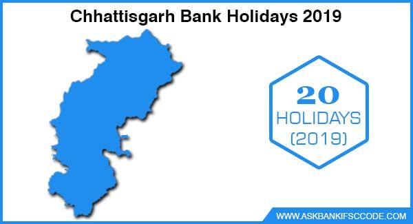 Chhattisgarh Bank Holidays 2019