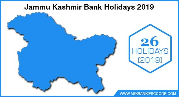 Jammu Kashmir Bank Holidays 2019