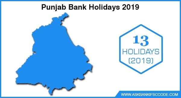 Punjab Bank Holidays 2019
