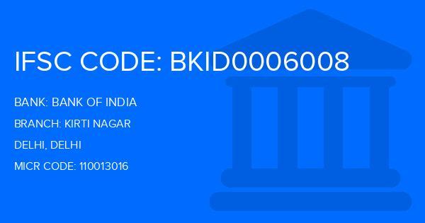 Bank Of India (BOI) Kirti Nagar Branch IFSC Code