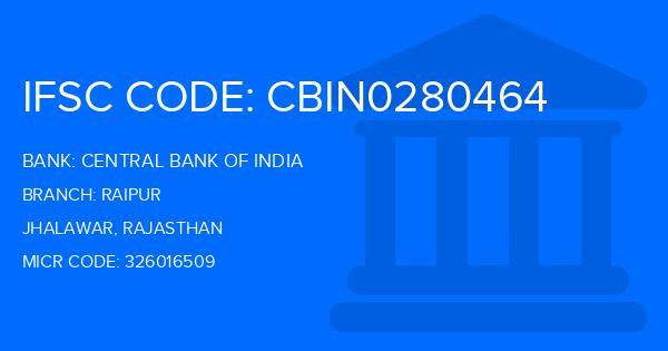central bank of india ifsc code raipur jhalawar