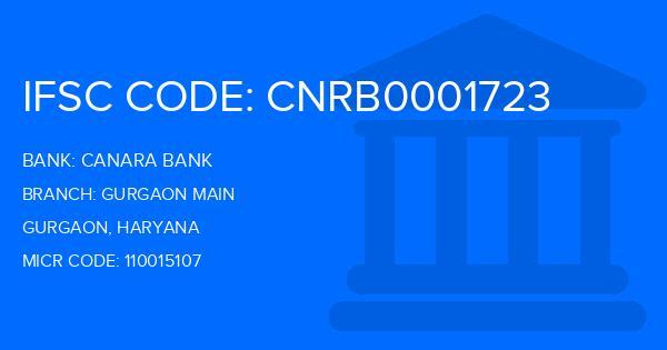 Canara Bank Gurgaon Main Branch IFSC Code
