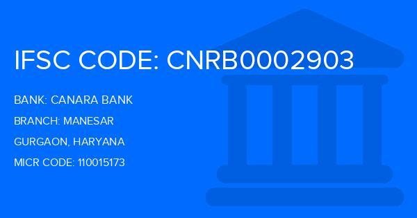 Canara Bank Manesar Branch IFSC Code