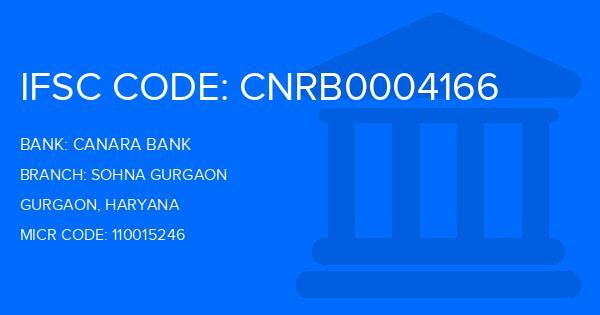 Canara Bank Sohna Gurgaon Branch IFSC Code