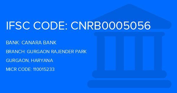 Canara Bank Gurgaon Rajender Park Branch IFSC Code