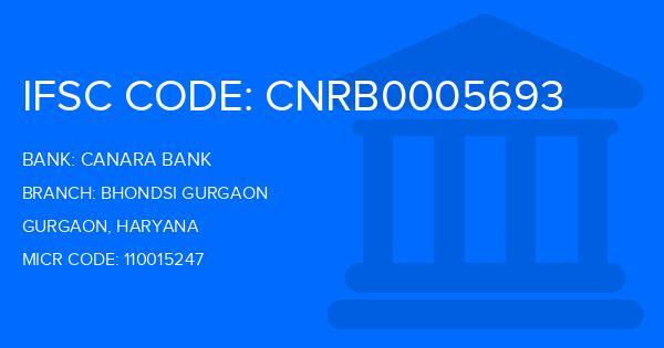 Canara Bank Bhondsi Gurgaon Branch IFSC Code