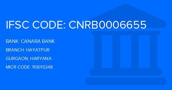 Canara Bank Hayatpur Branch IFSC Code