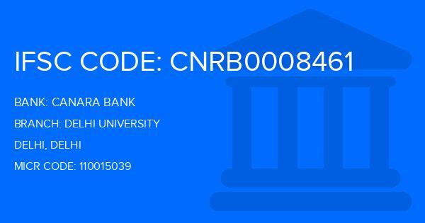 Canara Bank Delhi University Branch IFSC Code