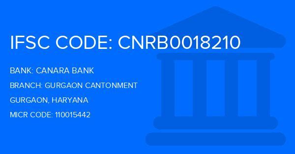 Canara Bank Gurgaon Cantonment Branch IFSC Code