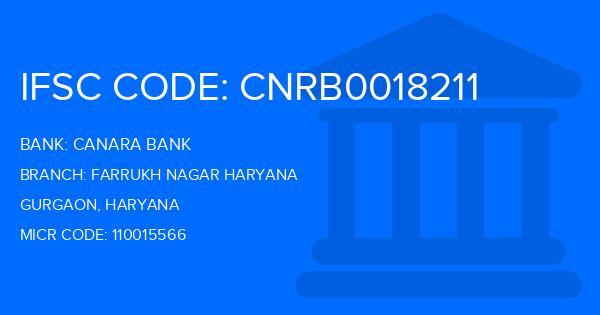 Canara Bank Farrukh Nagar Haryana Branch IFSC Code