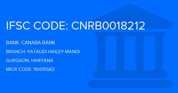 Canara Bank Pataudi Hailey Mandi Branch IFSC Code