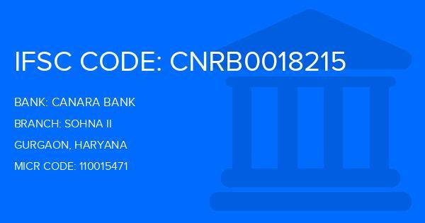 Canara Bank Sohna Ii Branch IFSC Code