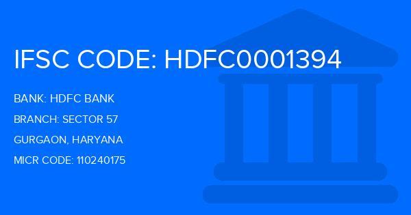 hdfc bank ifsc code gurgaon sector 57