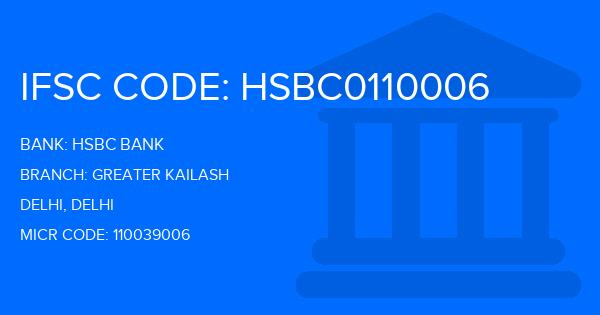 Hsbc Bank Greater Kailash Branch, Delhi IFSC Code
