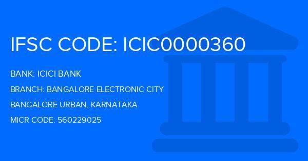icici bank ifsc code bangalore electronic city