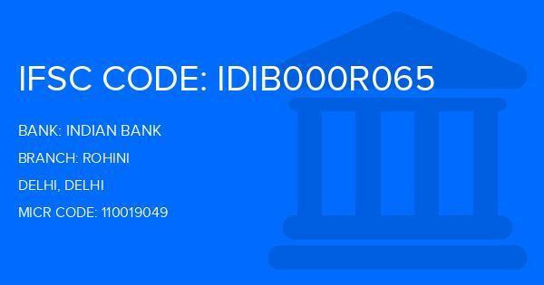 Indian Bank Rohini Branch IFSC Code