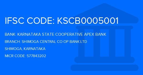 Karnataka State Cooperative Apex Bank Shimoga Central Co Op Bank Ltd Branch IFSC Code