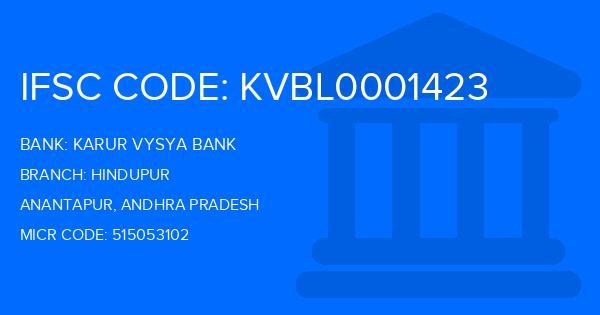 ifsc code of karur vysya bank hindupur