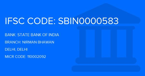 State Bank Of India (SBI) Nirman Bhawan Branch IFSC Code