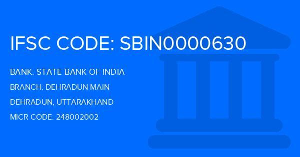 State Bank Of India (SBI) Dehradun Main Branch IFSC Code