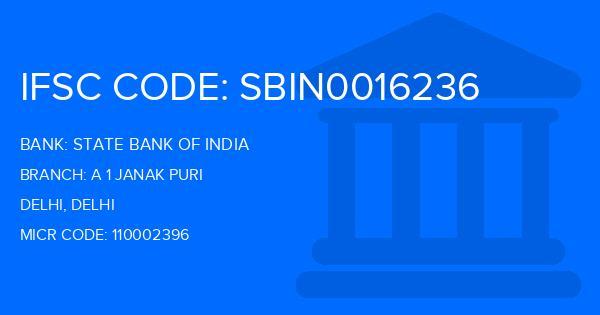 State Bank Of India (SBI) A 1 Janak Puri Branch IFSC Code