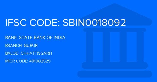 State Bank Of India (SBI) Gurur Branch IFSC Code