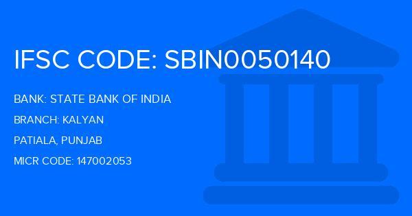 State Bank Of India (SBI) Kalyan Branch, Patiala IFSC Code